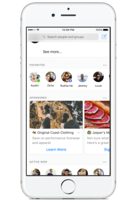 How ads will appear within Facebook Messenger.