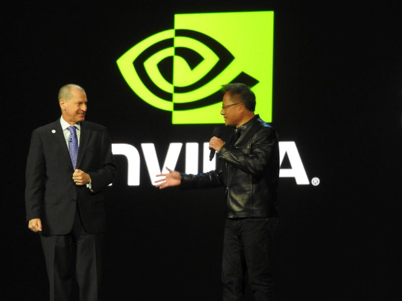 Gary Shapiro of CTA on stage with Jen-Hsun Huang of Nvidia at CES 2017.