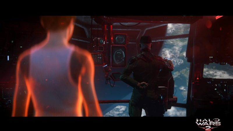Cinematic moment with the commander in Halo Wars 2.