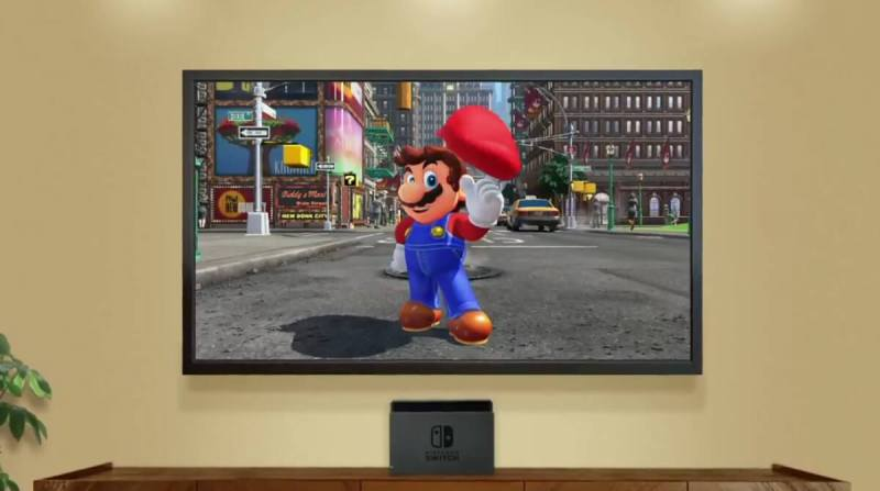 Nintendo Switch game console features a new Super Mario Odyssey game.
