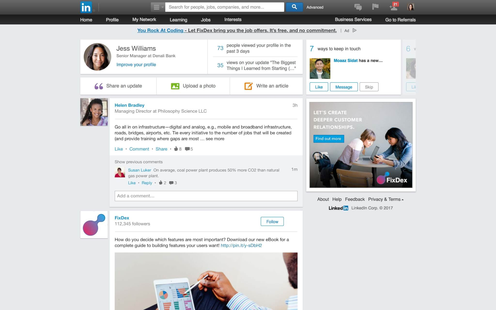 An old version of LinkedIn's News Feed prior to the rollout of the 2017 redesign.