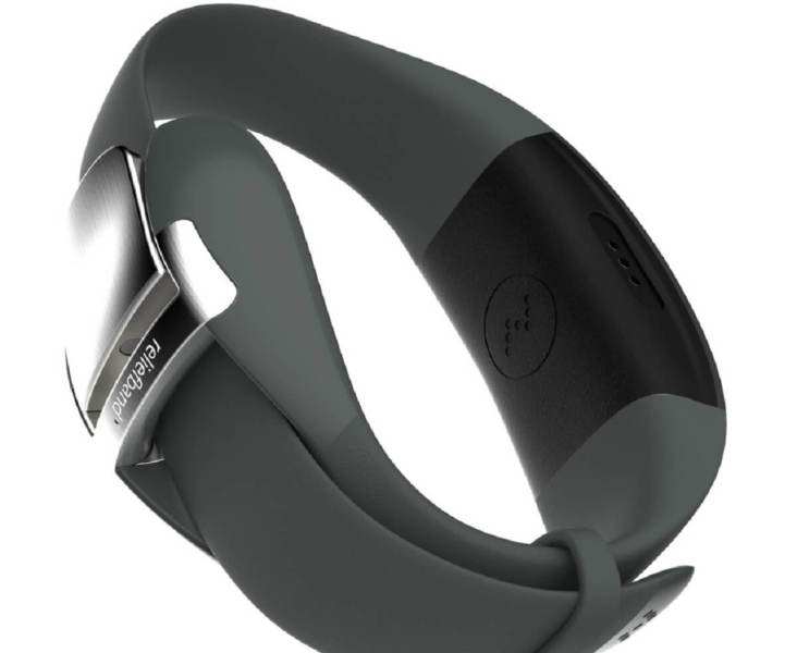 The Reliefband Neurowave has steel contacts that send electrical pulses into your nerves.
