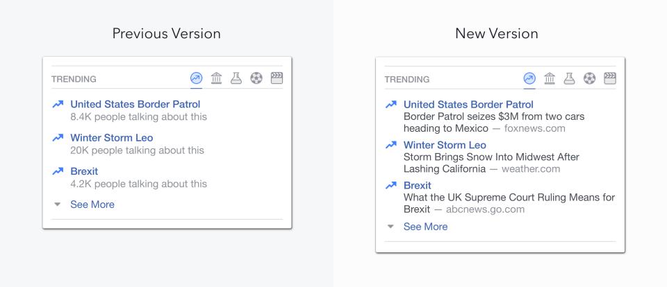 Facebook updated trending topics