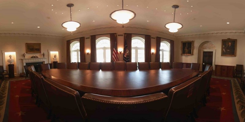 White House cabinet room in VR.