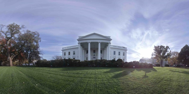 White House north lawn in VR.