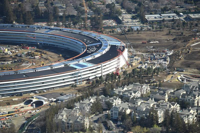 The Apple Campus 2 is seen under construction in Cupertino, California in this aerial photo taken January 13, 2017.