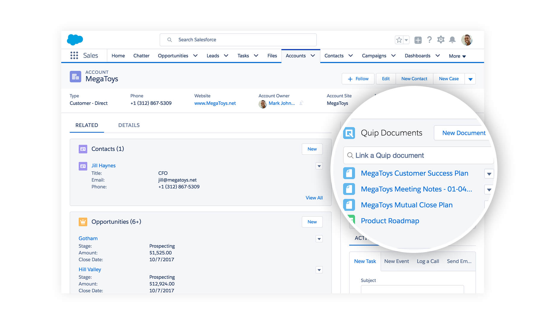 Quip integration with Salesforce