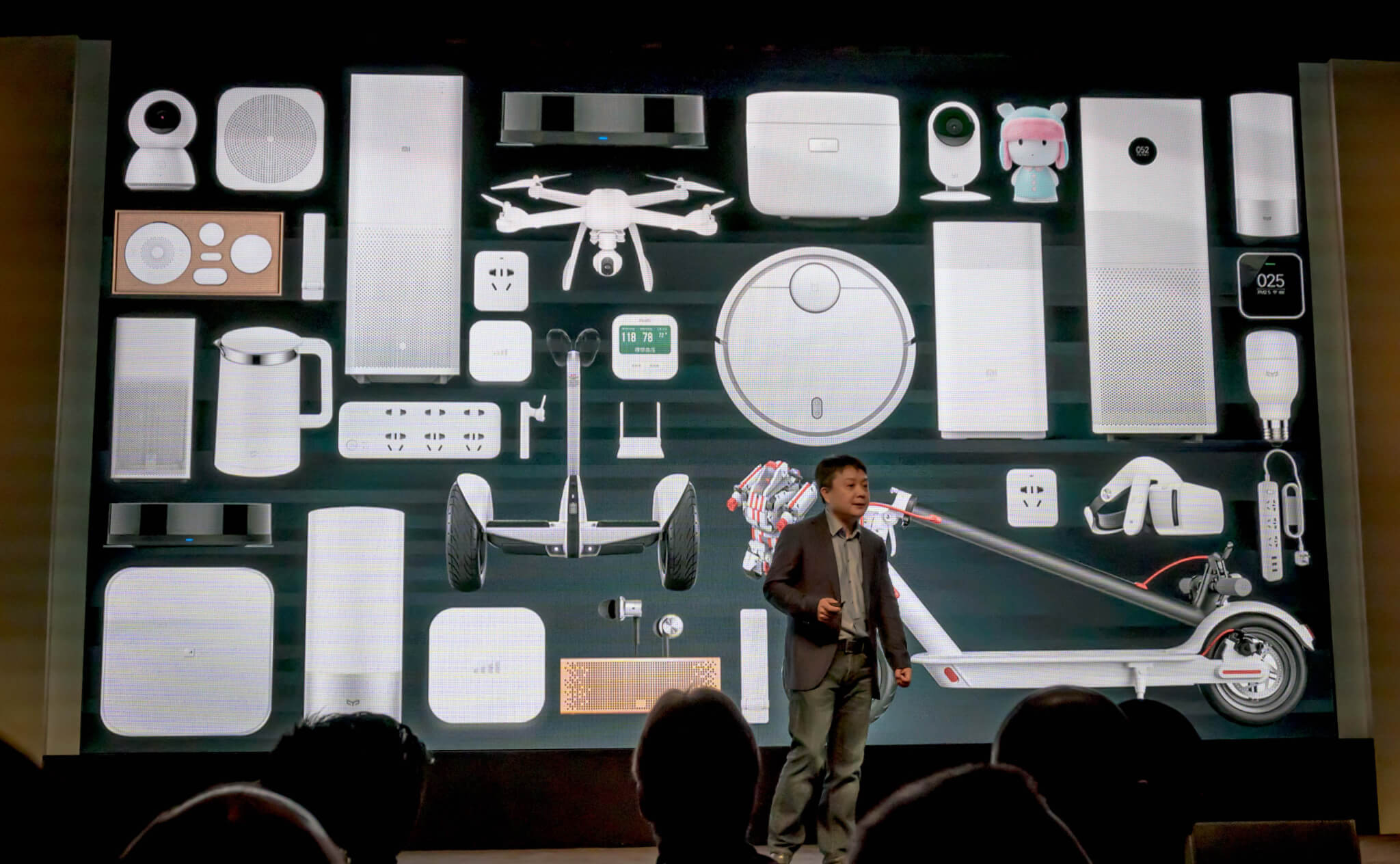 Xiaomi's vice president of global business Xiang Wang on stage at CES 2017.