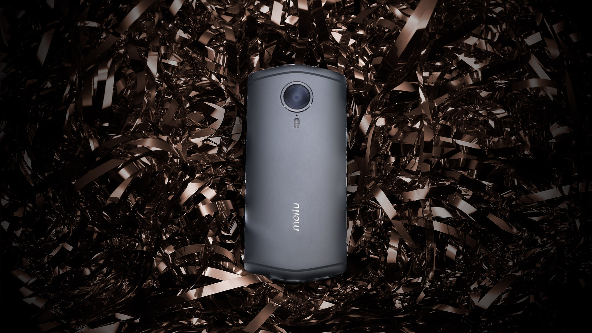 The diamond grey version of the Meitu T8 smartphone.