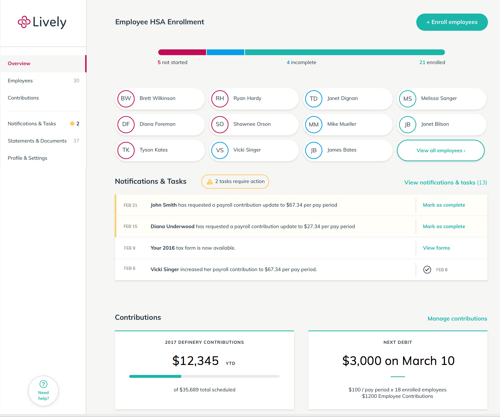 The employer dashboard on Lively.