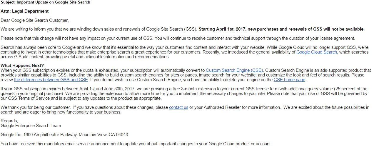 The email Google sent to customers today.