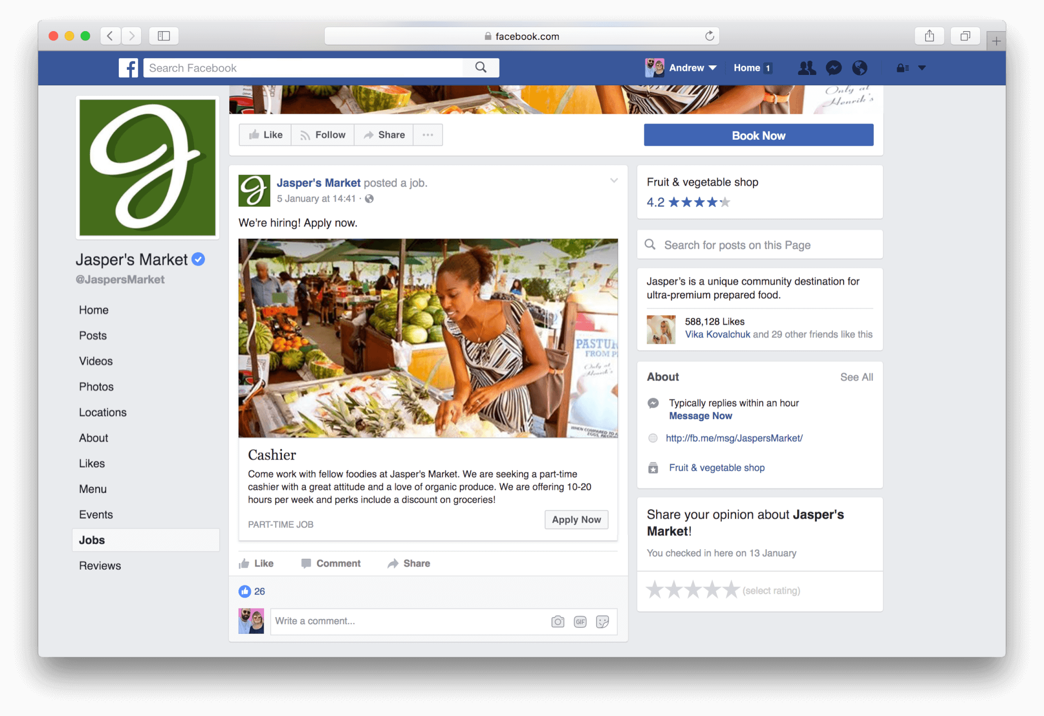 Facebook Jobs Desktop Experience