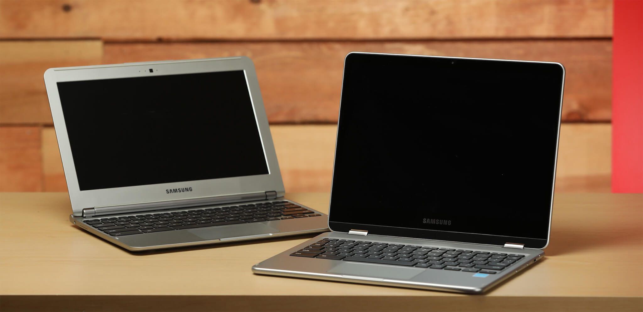 The first Samsung Chromebook (left) and the Chromebook Pro (right).