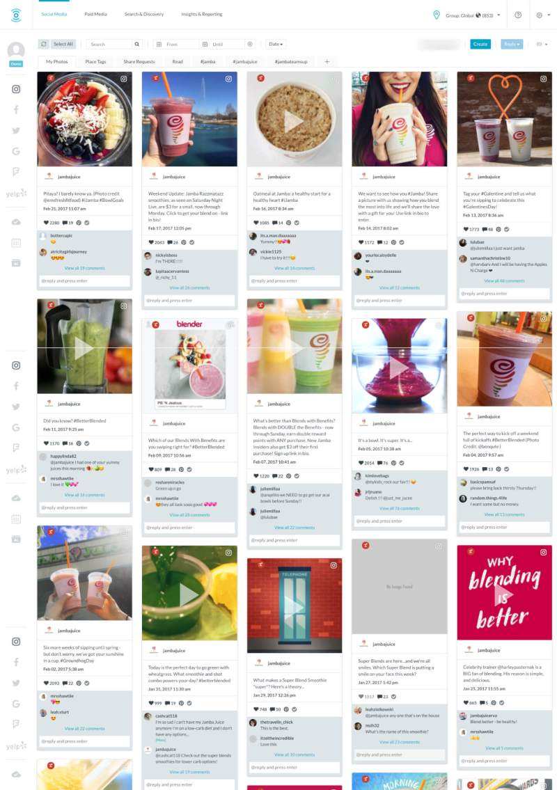 Customer view of Jamba Juice's Instagram feed through MomentFeed