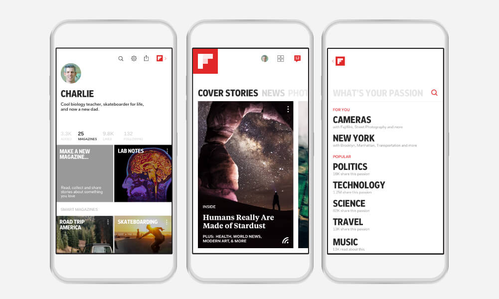 Passion picker feature within Flipboard 4.0