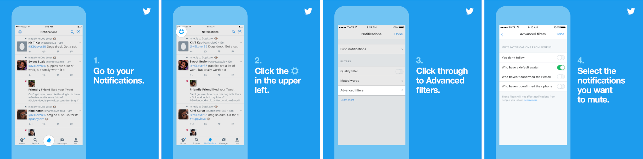 Twitter adds new filtering in notifications to block tweets from those with a default profile picture, unverified email and/or phone number.