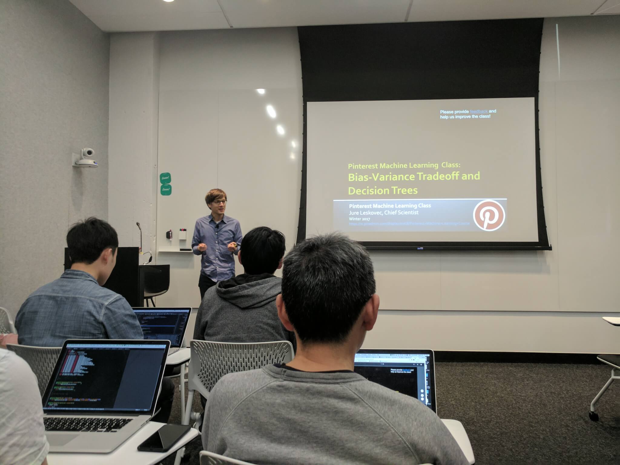 Leskovec teaches a machine learning class for Pinterest employees at company headquarters in San Francisco on February 24.