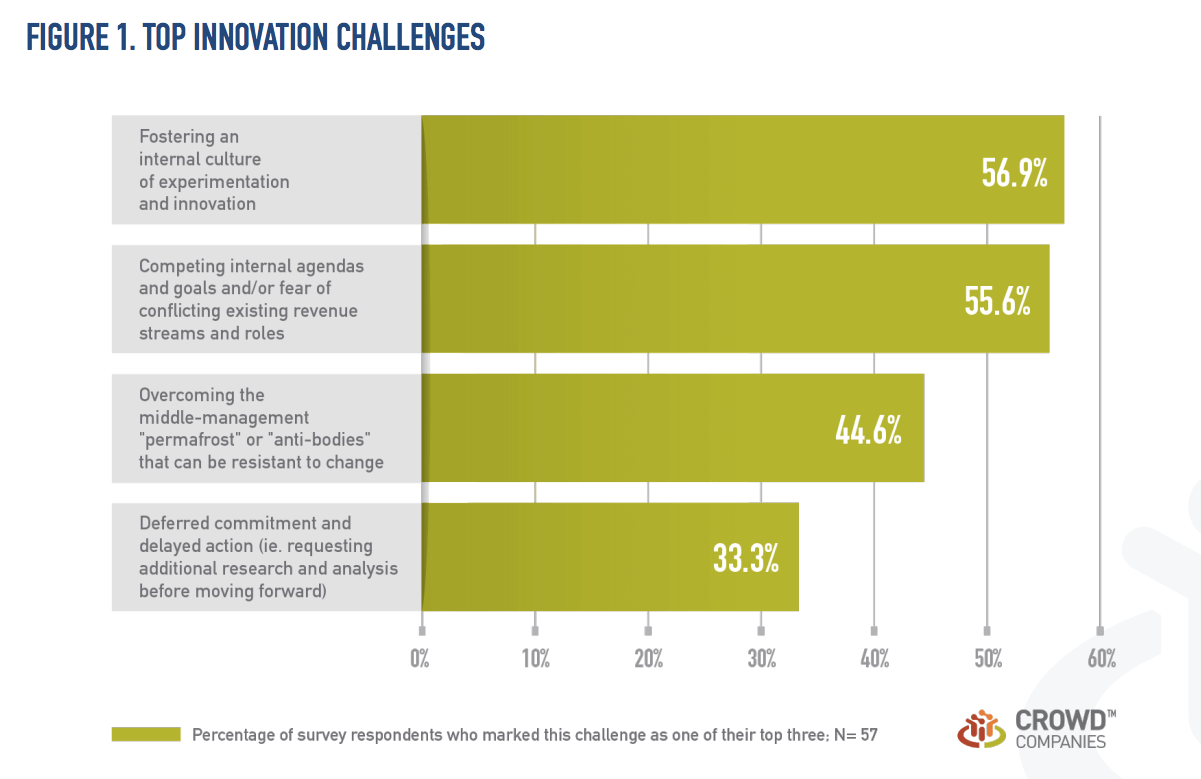 Top innovation challenges according to a study from Crowd Companies.