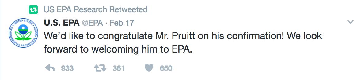 EPA Research RT of Pruitt