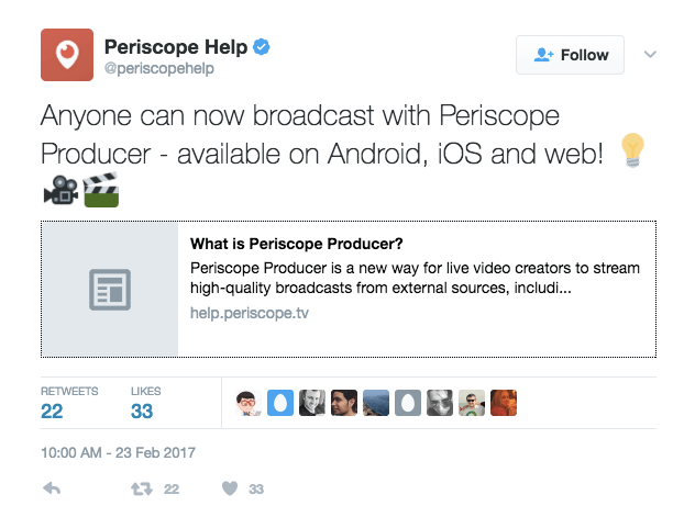 Tweet from Periscope announcing availability of Periscope Producer.