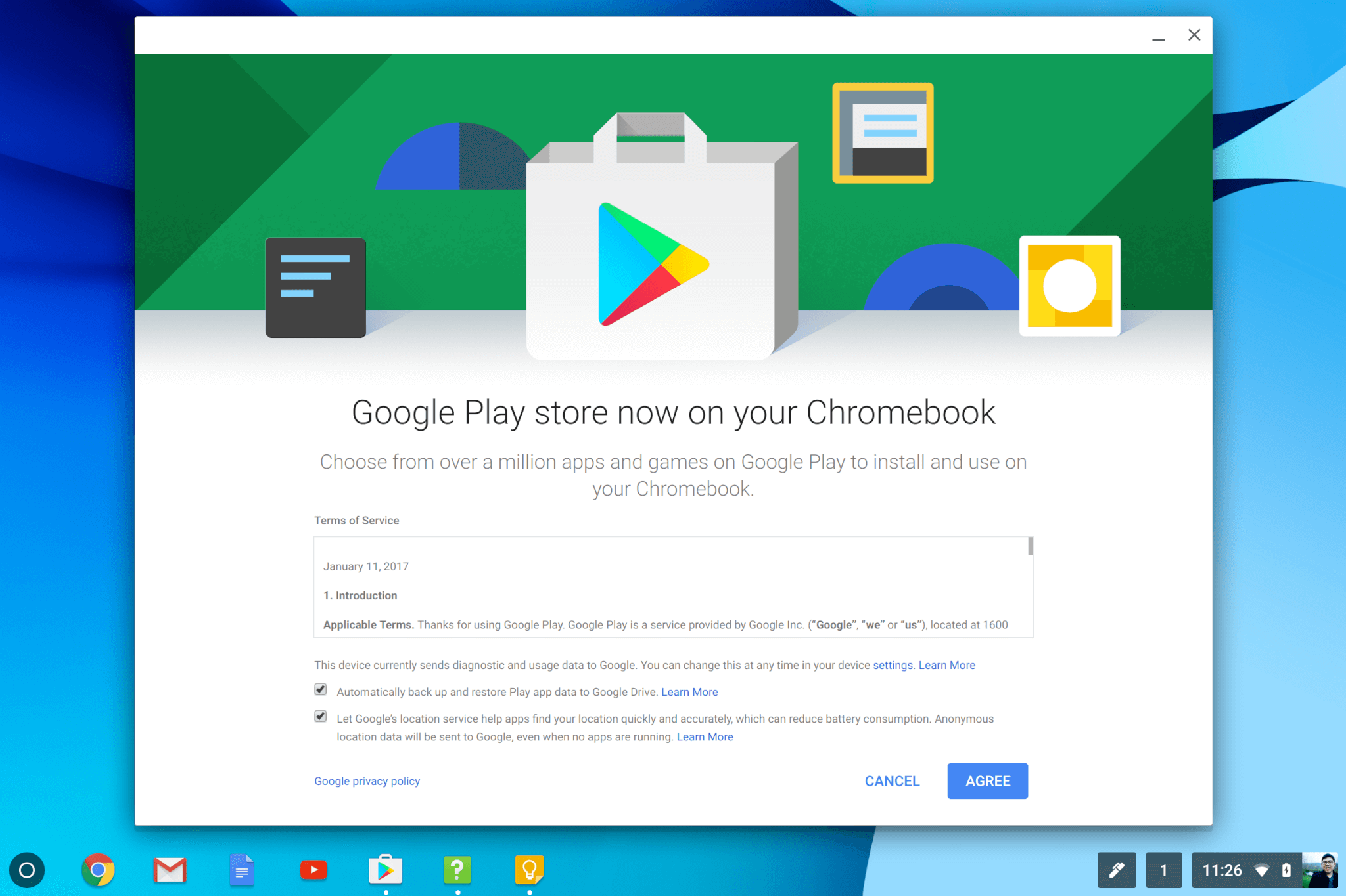Onboarding screen when you first use the Google Play store on the Samsung Chromebook Pro.