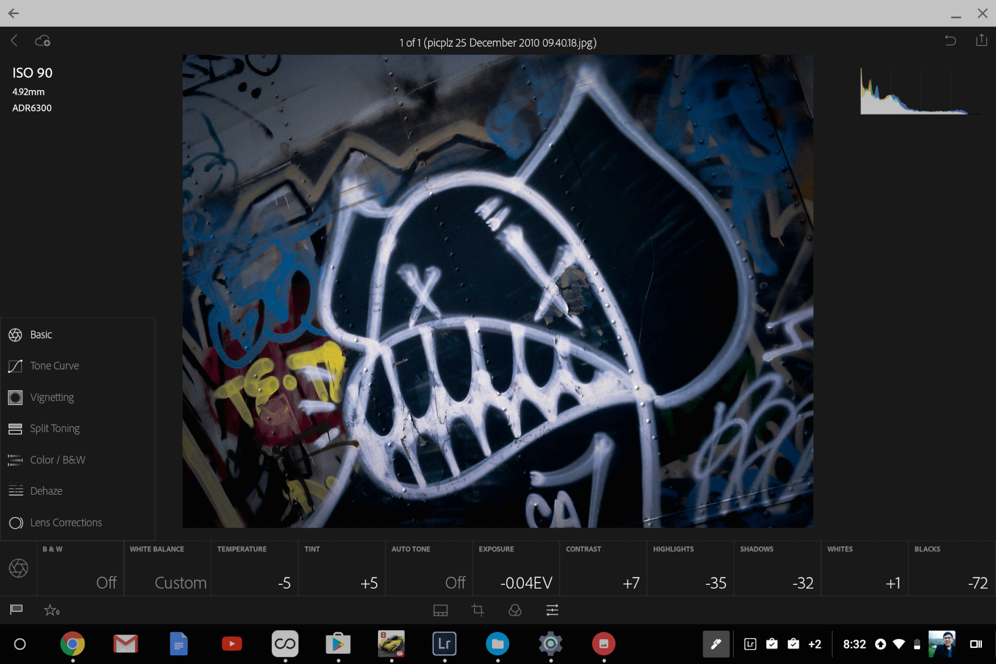 Adobe Lightroom on Samsung Chromebook Pro.