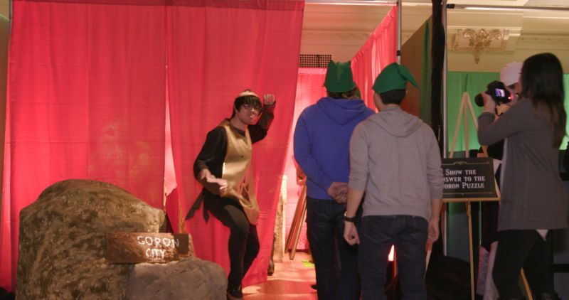 Some of the game's characters were played by real actors -- like the Goron seen here -- while others were just lifeless cardboard cutouts.