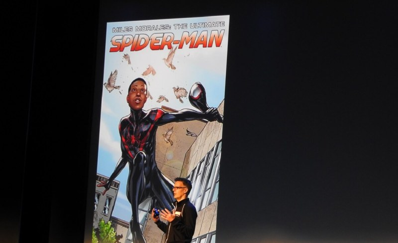 Bill Rosemann shows one of the diverse reimaginings of Spider-Man.