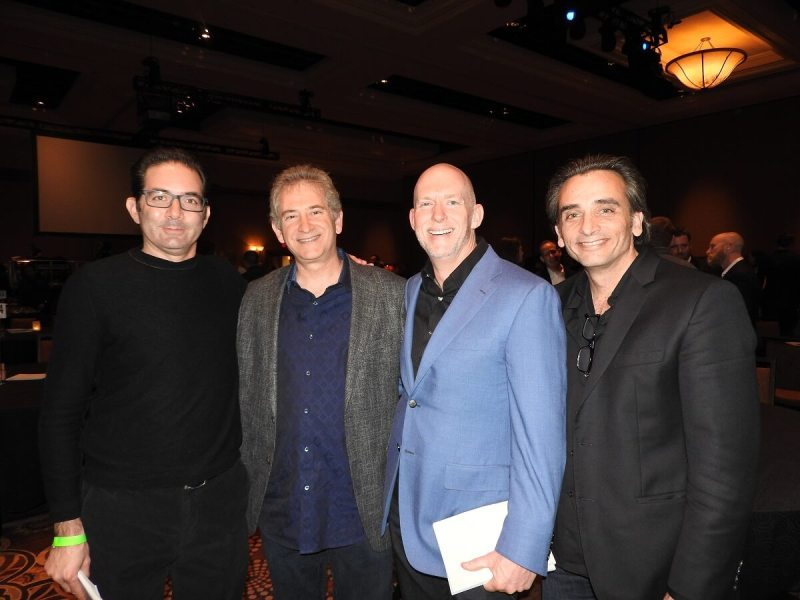 Blizzard leaders (left to right): Jeff Kaplan, Mike Morhaime, Frank Pearce, and Gio Hunt.