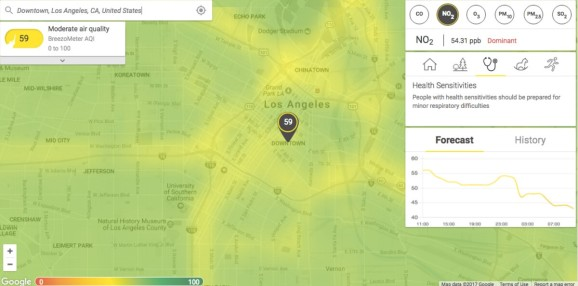 breezometer shows a map of real time air pollution in big cities