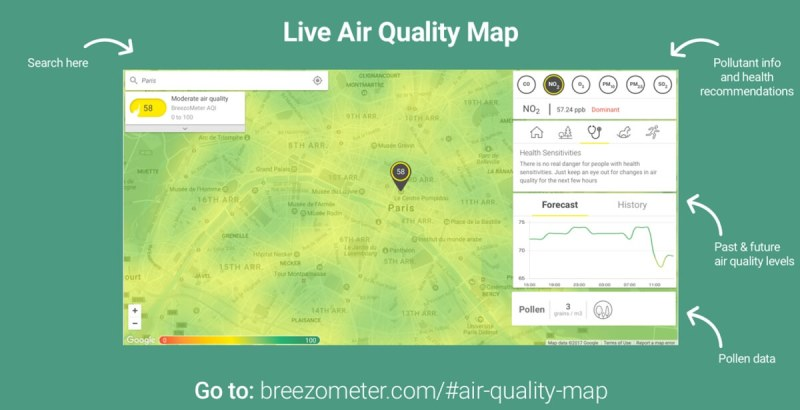 BreezoMeter shows how to view the real-time pollution.
