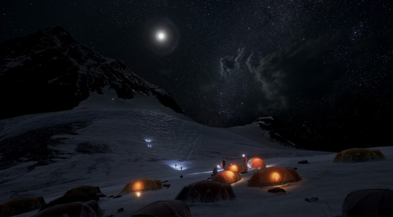 Everest VR base camp at night.