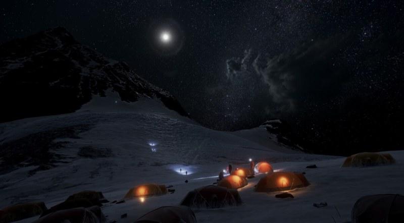 Everest VR base camp at night.