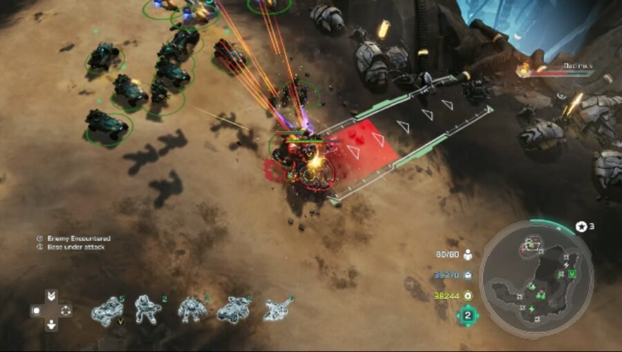 Going after Decimus in Halo Wars 2 with a missile strike.