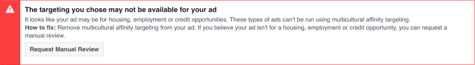Facebook ad policy: Manual review