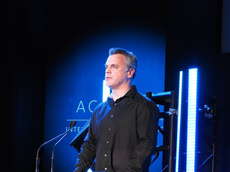 Pete Hines of Bethesda at the DICE Awards.