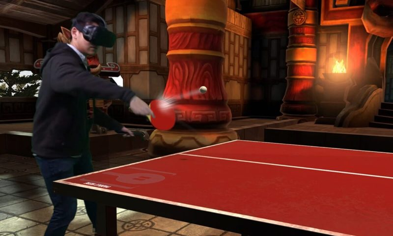 VRSports includes a ping pong game.