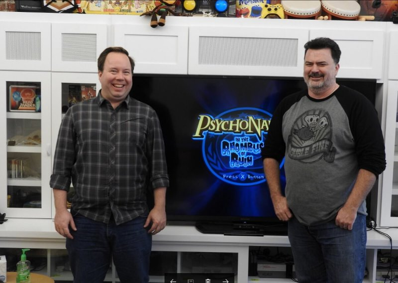 Chad Dawson (left) and Tim Schafer of Double Fine Productions.