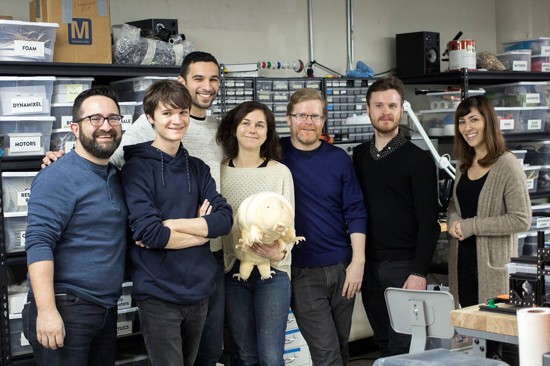 The team, left to right: David Nuñez, Sam Posner, Jesse T. Gonzalez, Bailey Meadows, stuffed animal Tardigrade, Noah Feehan, Matt Borgatti, and Jennifer Bernstein