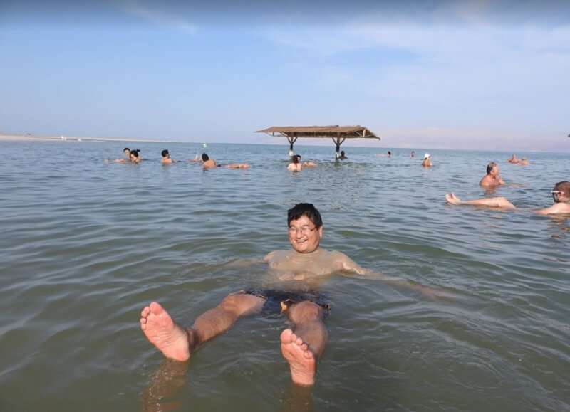 Floating in the Dead Sea.