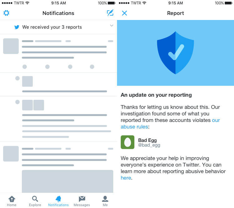Twitter's new workflow around reporting abusive accounts.