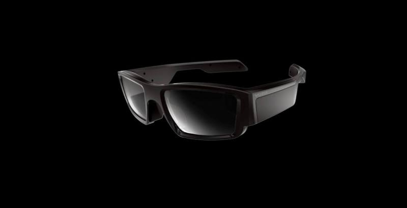 Vuzix smartglasses have the projector housed in the side bar.