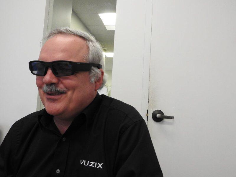 Paul Travers, CEO of Vuzix, wears the company's prototype AR smartglasses.