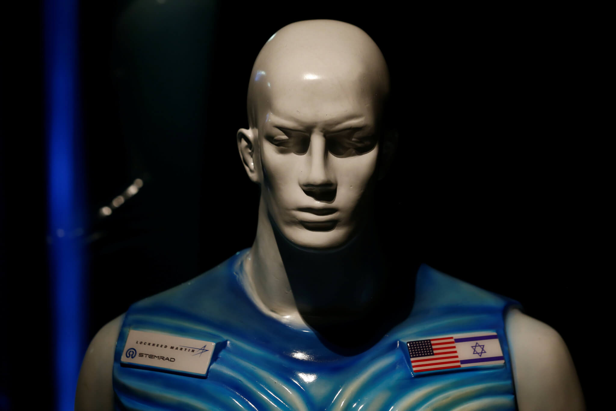 A sculpture of a man wearing Stemrad's new protective vest, Astrorad, is seen at an exhibit at Madatech, National Museum of Science Technology and Space in Haifa, Israel February 23, 2017. REUTERS/Amir Cohen