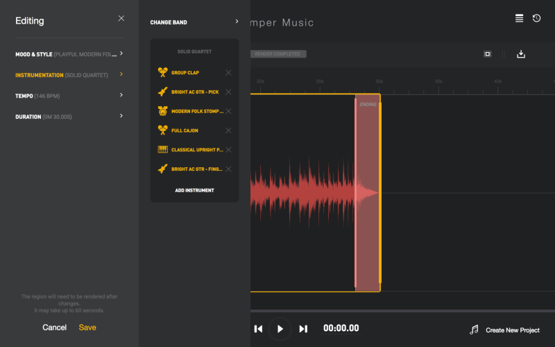 Editing tools on Amper Music app
