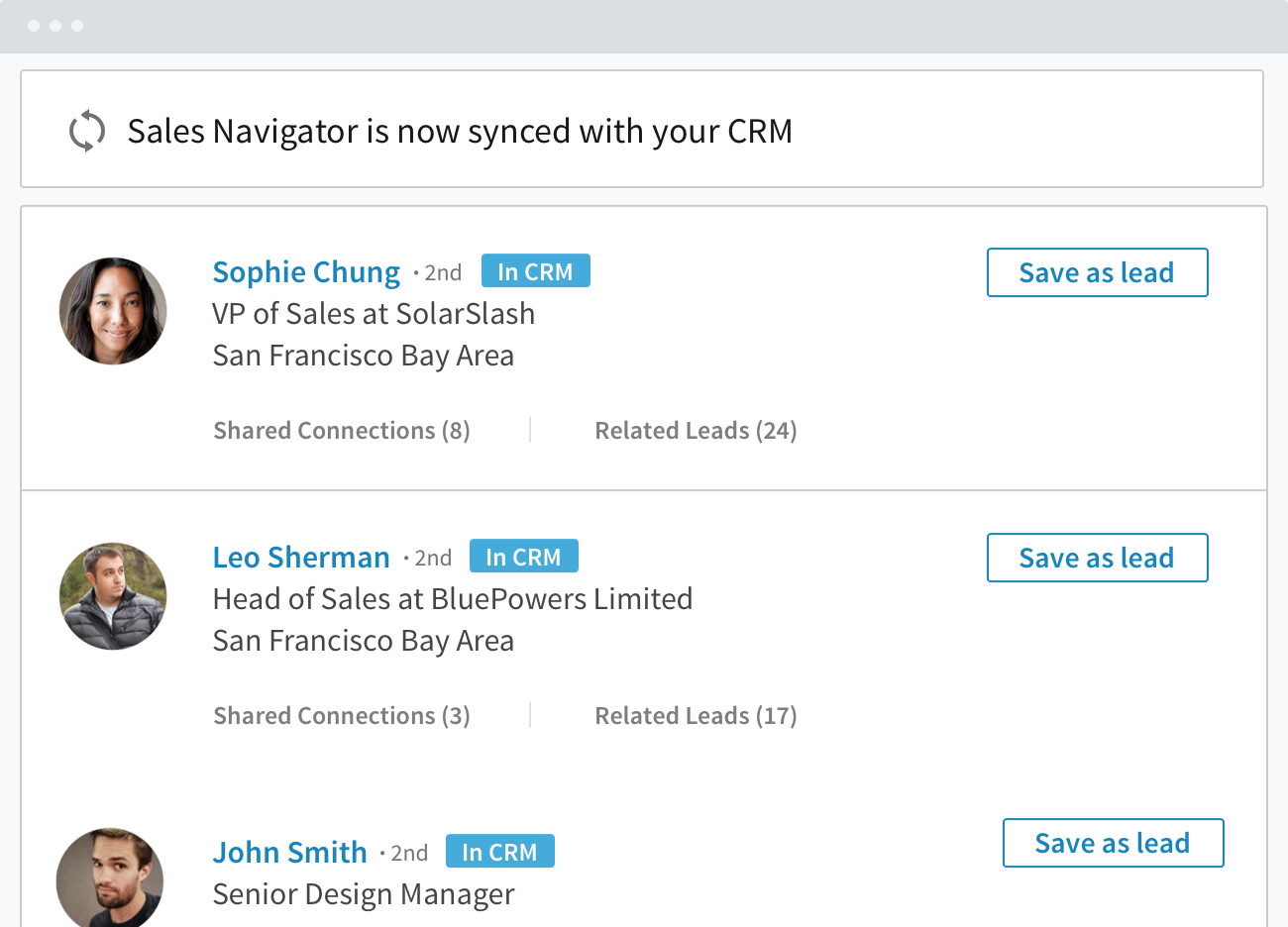Results from LinkedIn's Sales Navigator CRM sync