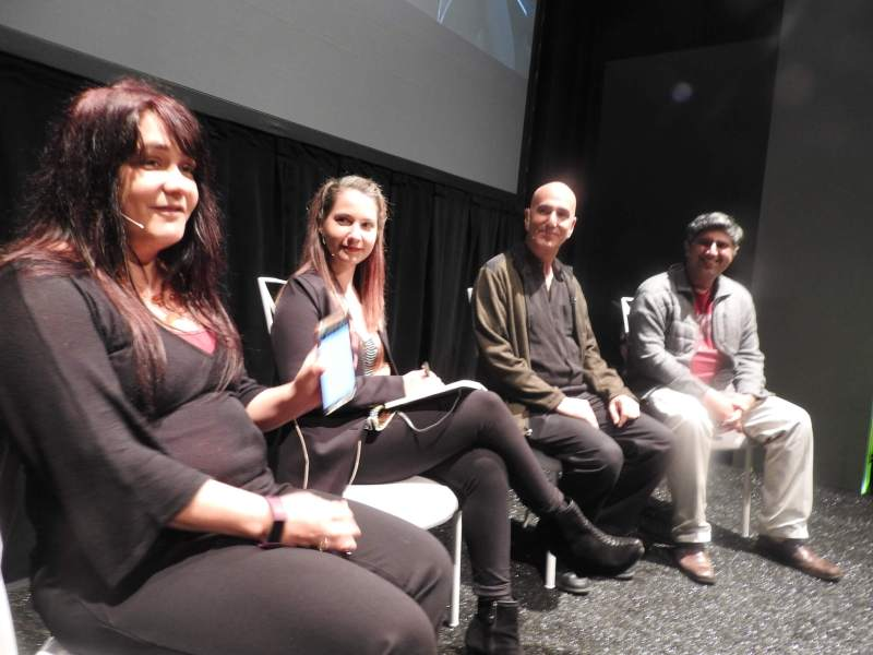 VR entertainment panelists: Margaret Wallace (left), Theresa Duringer, Noah Falstein, and Shiraz Akmal.