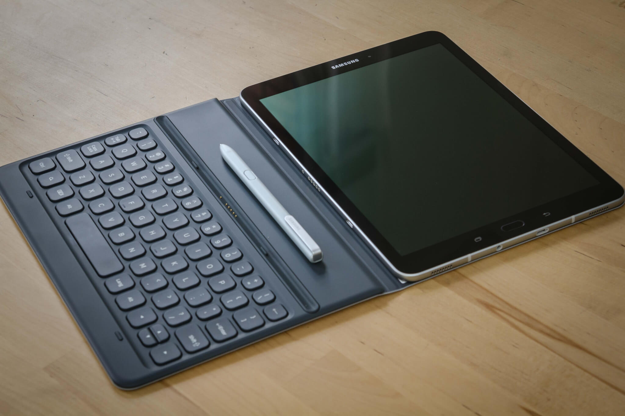 Samsung Galaxy Tab S3 in a pogo keyboard case and S Pen.