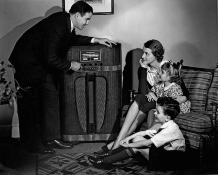 Old time radio in living room