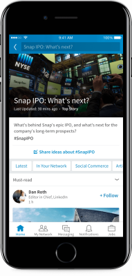 LinkedIn's Trending Storyline on iPhone.